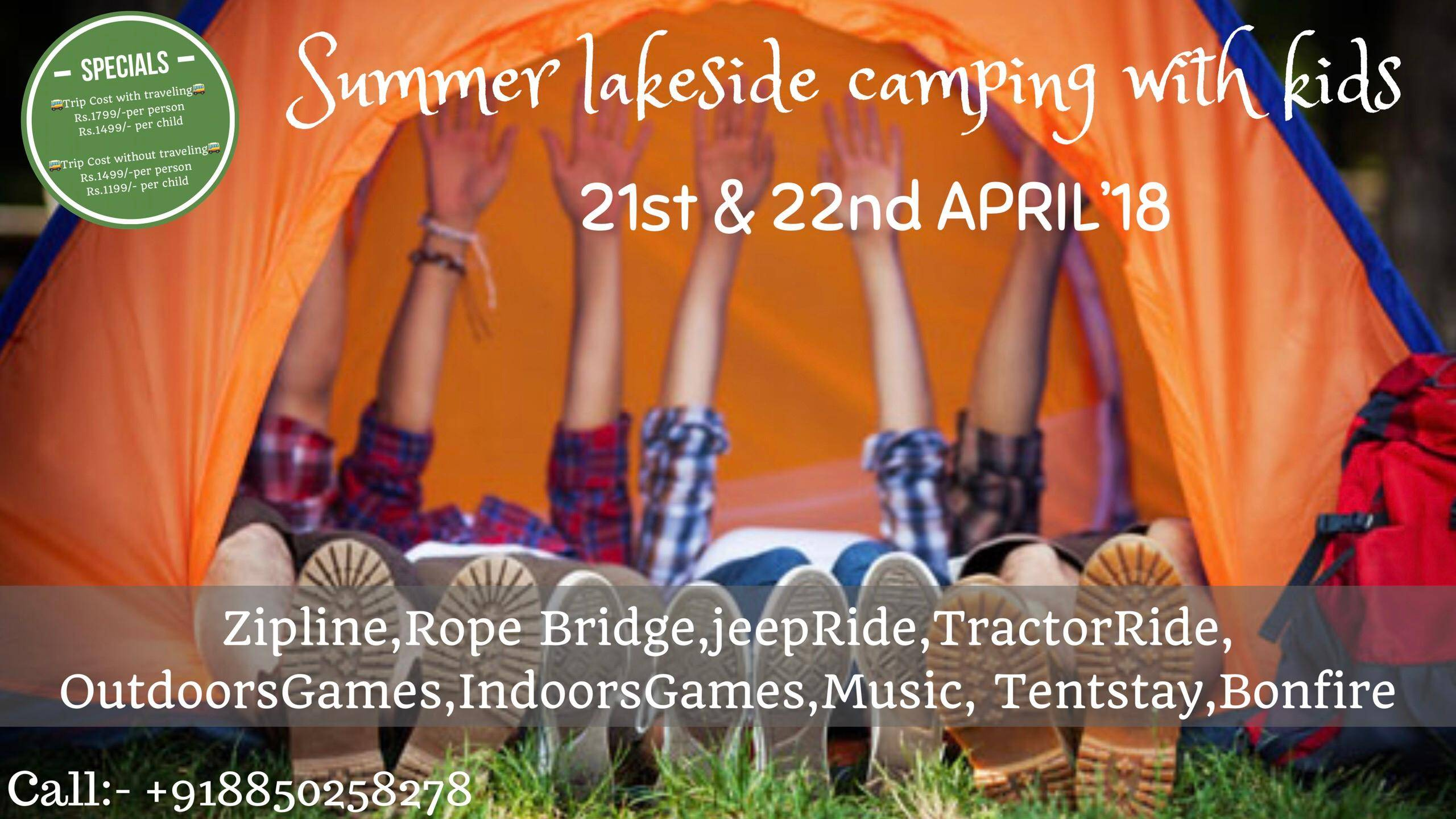 Summer camp lakeside camping with kids