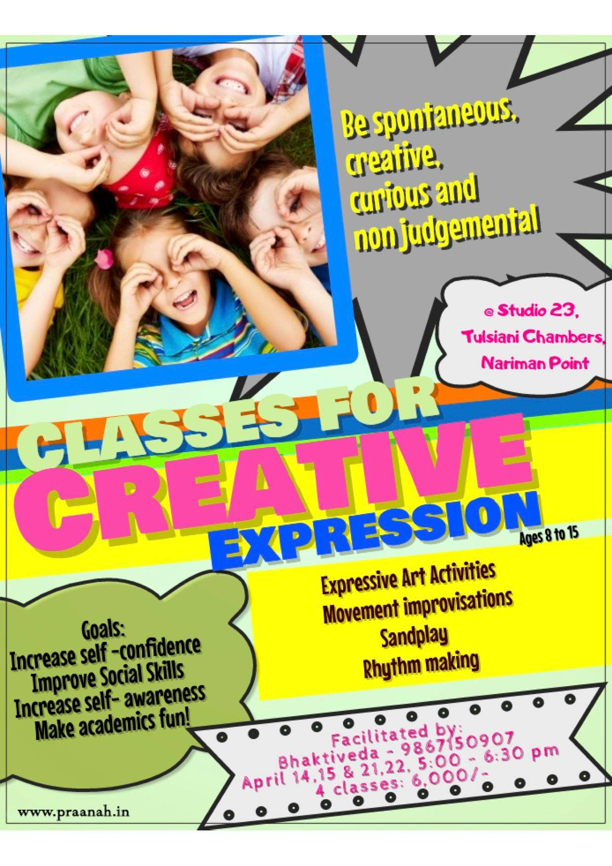 Creative Expression classes for kids! - With Bhaktiveda Dhaul Taragi