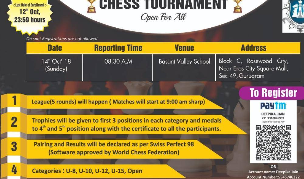 Chess Tournament ``Open For All`` is being organised on 14th Oct`18 (Sunday)!