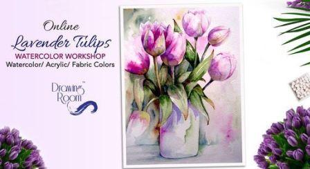 Online Lavender Tulips Watercolor Workshop