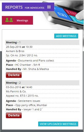 Online meeting planning with mobiles devices for Advocates