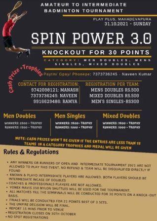 Spinpower 3.0 Badminton Tournament