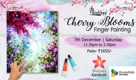 Cherry Blooms Finger Painting Workshop by Paintology , Kandivali