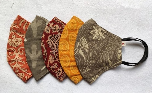 EARTH MASKS - Cotton masks made with block printed fabric.