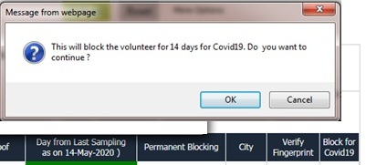 OVIS updated to handle Blocking for COVID19 Positive / Negative - A New Eligibility Criteria