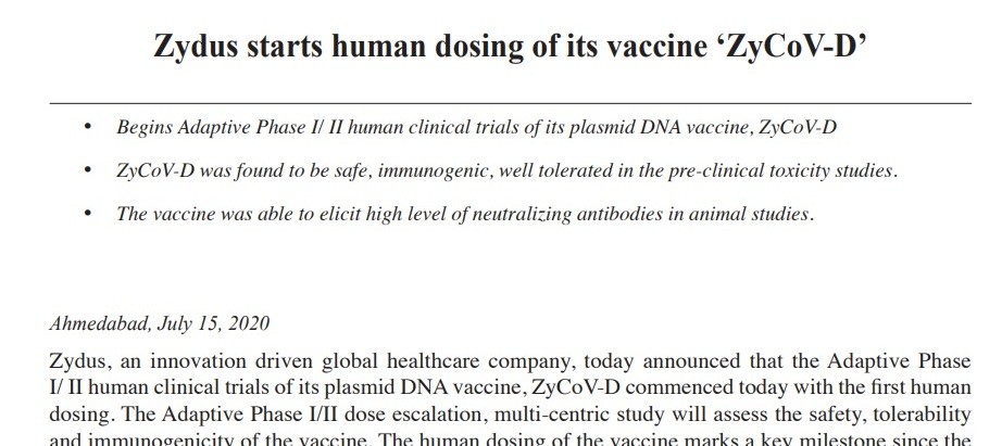 Zydus starts human dosing of its vaccine 'ZyCoV-D'. #Inforcom is Proud to be   associated with #Zydus Cadila in #CORONA #Vaccine# ClinicalStudy for   #HumanVolunteers Eligibility.